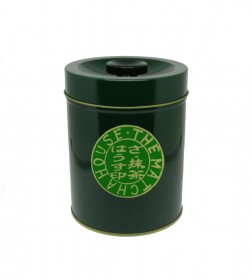 Green tin for tea bag storage